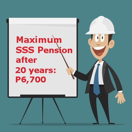 Maximum SSS Pension after 20 Years of Contribution : P6,700